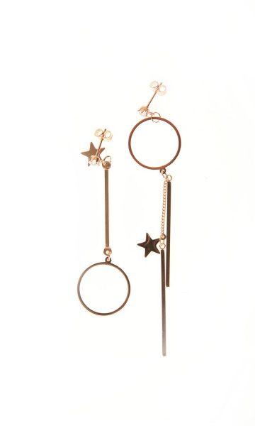 Ροζ χρυσό σκουλαρίκια με αντίθετη φορά